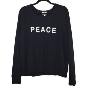 NEW Sundry Peace & Love Crewneck Sweatshirt Black